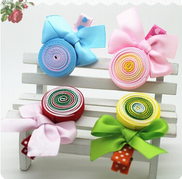 Гаджет  New Girls Print Ribbon Lollipops Children Accessories Girls Bow Colorful Hair Accessories Hair Accessories Baby Hair Clip None Одежда и аксессуары