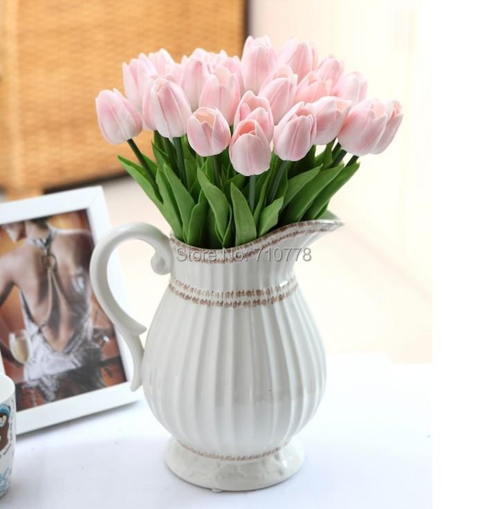 Artificial Tulip Wedding Bouquets : Pcs cm pu real touch pink color artificial simulation