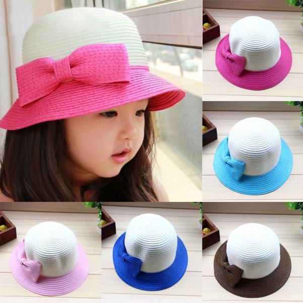 Baby Girls Straw Bowknot Sun Hat Kids Large Brim Beach Cap Summer Hat Hot(China (Mainland))