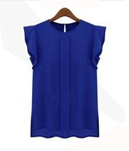 Womens Blouses Chiffon Clothing Summer Lady Blouse/Shirt S-XL Sale New 2014 Fashion Ruffle Short Sleeve 4 Colors Tops OL Blouse