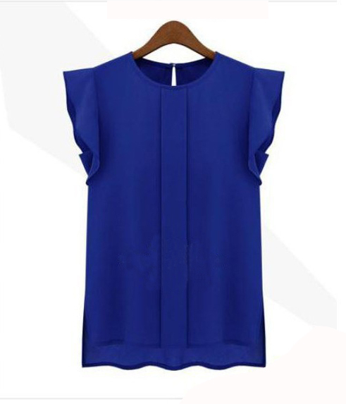 Womens Blouses Chiffon Clothing Summer Lady Blouse/Shirt S-XL Sale New 2014 Fashion Ruffle Short Sleeve 4 Colors Tops OL Blouse(China (Mainland))