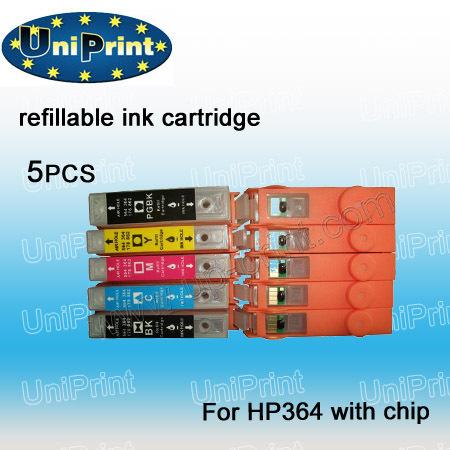 Картридж с чернилами Uniprint 5PCS PBK/BK/C/M/Y HP 364 HP364 B8550 C5380 C6380 C410b C5324 C6324 D5460 7510 C309n C310a C309a akg cbl 410 pcc bk