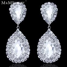Teardrop Crystal Bridal Silver Long Drop Earrings for Women Imitated Gemstone Jewelry Wedding Jewelry EH003(China (Mainland))