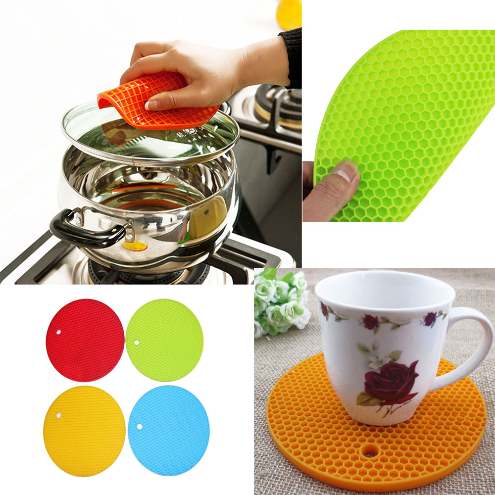 *US Ship* 4PCS Silicone Round Trivet Table Heat Resistant Mat Cup Coaster Cushion Placemat Table Pad kitchen Tool(China (Mainland))