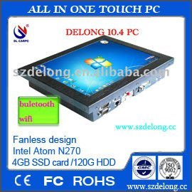 pos system 10.4inch fanless all-in-one pc with touch /IP65 waterproof pc for car pos machine