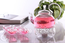 1 heat resistant glass teapot 600ML+6 double wall tea cups 50ML+1 teapot warmer 8pcs/set free shipping