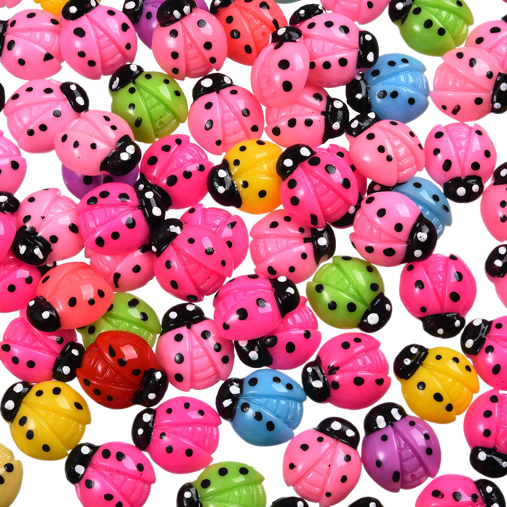 Home Wedding Decoration 100pcs  Polka Dot Ladybug Cabochons Scrapbook Cell phone decor, hair accessory supply, embellishment
