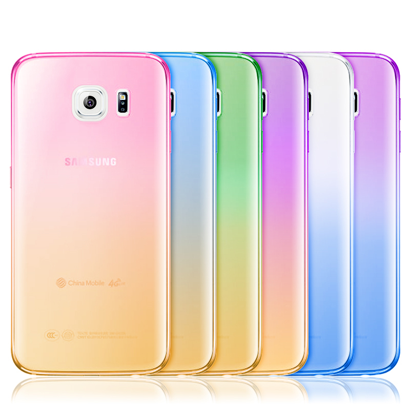 Fashion Gradient Color Design TPU Phone Case Soft Silicone Moblie phone Protector Cover For iphone 4 5 6 plus samsung S6(China (Mainland))
