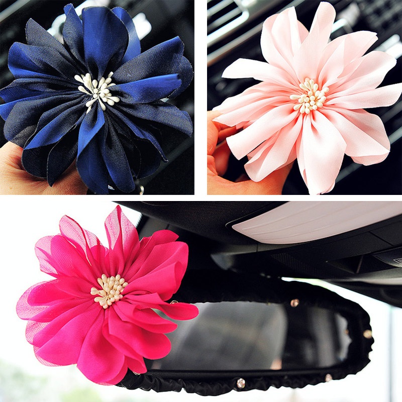 Car-styling Auto Ornaments Trend Silk Flower Decoration Interior Rearview Mirror Set Car Cover Interior Female Accessory(China (Mainland))