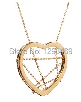 Unique Heart Pendant Necklaces Brand Fashion Gold Plated Heart with Crossed Chains Punk Necklace Pendants for Women 2015(China (Mainland))