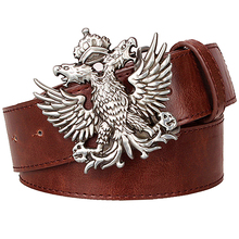 Buy Cool men's leather belt Headed eagle hip hop punk belt metal Double headed eagle pattern Russian style belt rock dress strap for $9.45 in AliExpress store