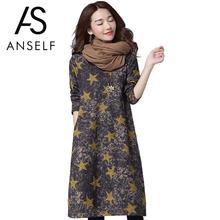 Autumn 2017 Women Cotton Linen Dress Retro Long Maxi Dresses Pocket Star Print Long Sleeve Casual Loose Vestidos Plus Size S-XXL(China (Mainland))