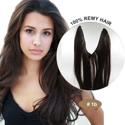 20inch #1B Jet Black Halo Hair Extensions Synthetic Flip in Hair Extensions Best Quality 002<br><br>Aliexpress