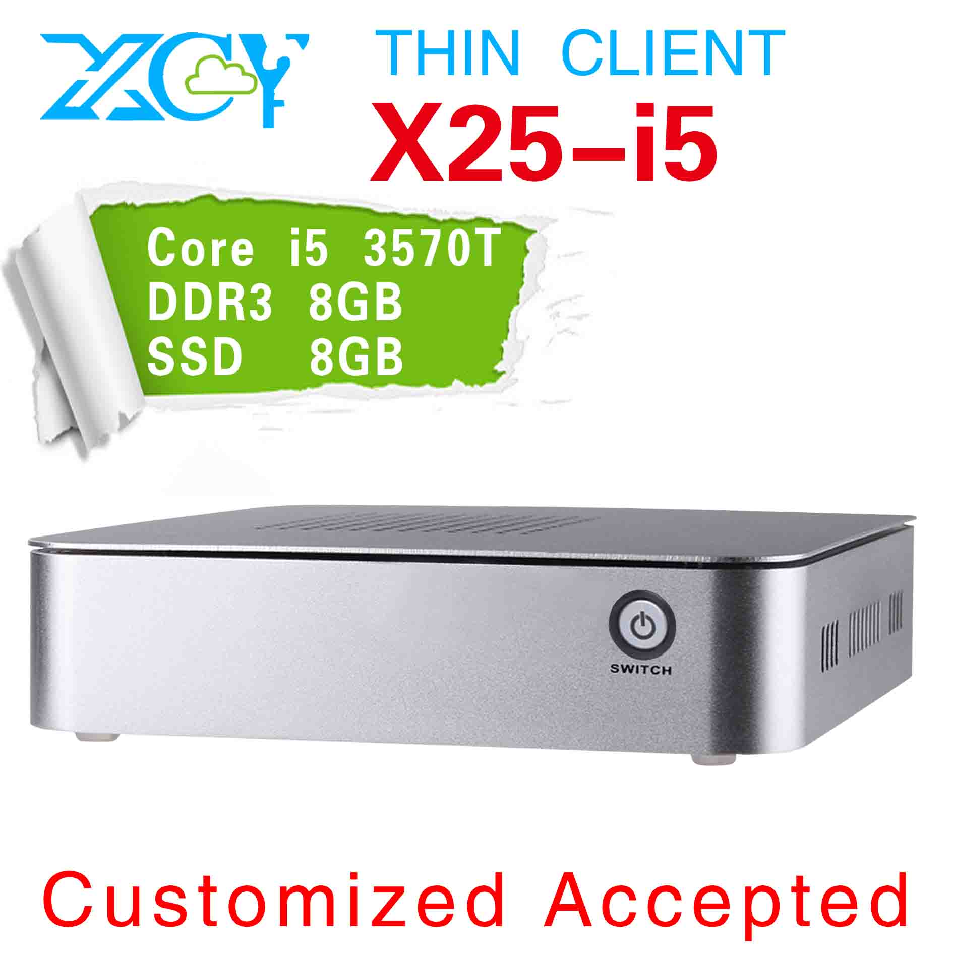 Smaller space and energy X25-i5 2390T Celeron Dual core itx aluminum pc micro atx htpc pc 8gb ram 8g ssd(China (Mainland))