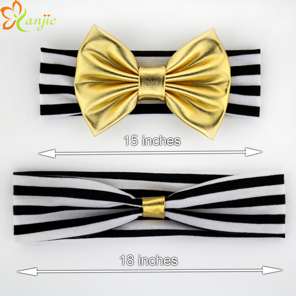 """Mother And Baby 5"""" Metallic Glitter Messy Bow With 15''/18'' Black&White Striped Headband Metallic Bow Headband Hair Accessories(China (Mainland))"""