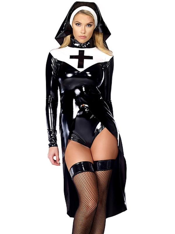 Sexy Saintlike Seductress Sultry Costume Woman Halloween Nun 2016 Unique Design Cosplay Costume W850640(China (Mainland))