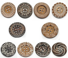 Scrapbooking Accessoires 20PCs Fixed Mixed Pattern 4Holes Wood Big Sewing Buttons For Sweater Overcoat 6cm B19223(China (Mainland))