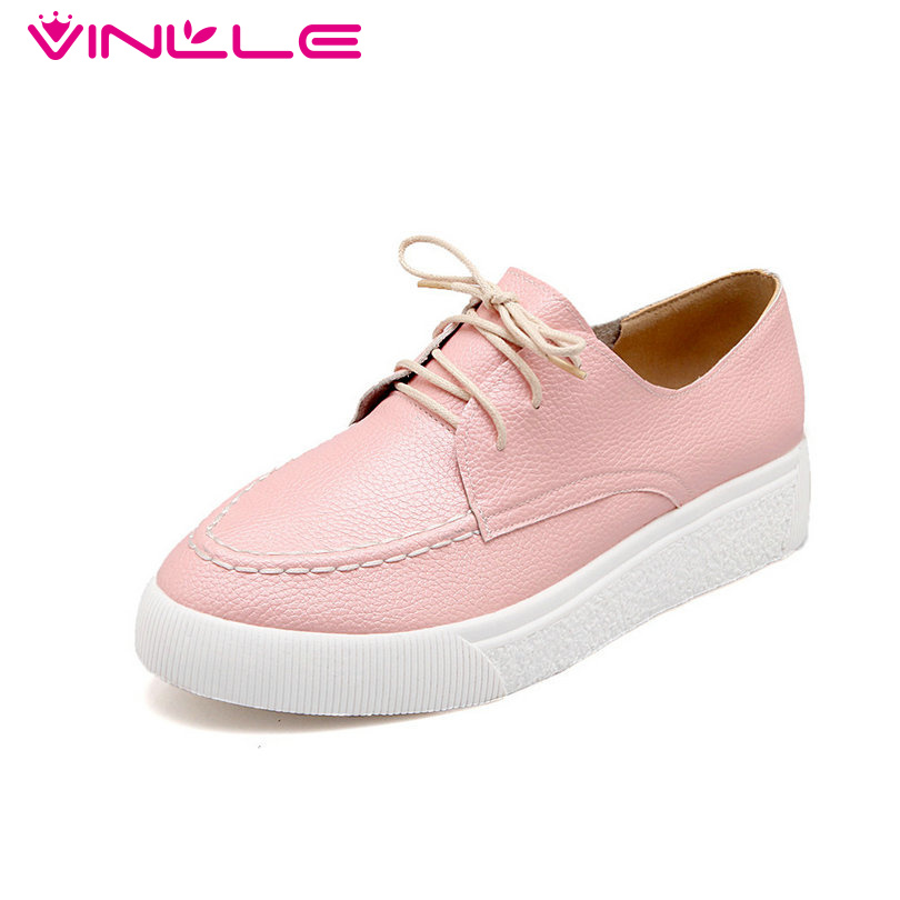 VINLLE Pink Ladies Spring Shoes Round Toe Square Heel Woman Flat Shoes Round Toe Lace Up PU leather Women Casual Flat Size 34-40
