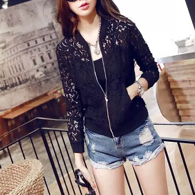 2015 Hot Sale Women Lace Jacket Hollow Out Jacket Women Tops Long Sleeve Slim Black Outwear Women Lace Coat BL6(China (Mainland))
