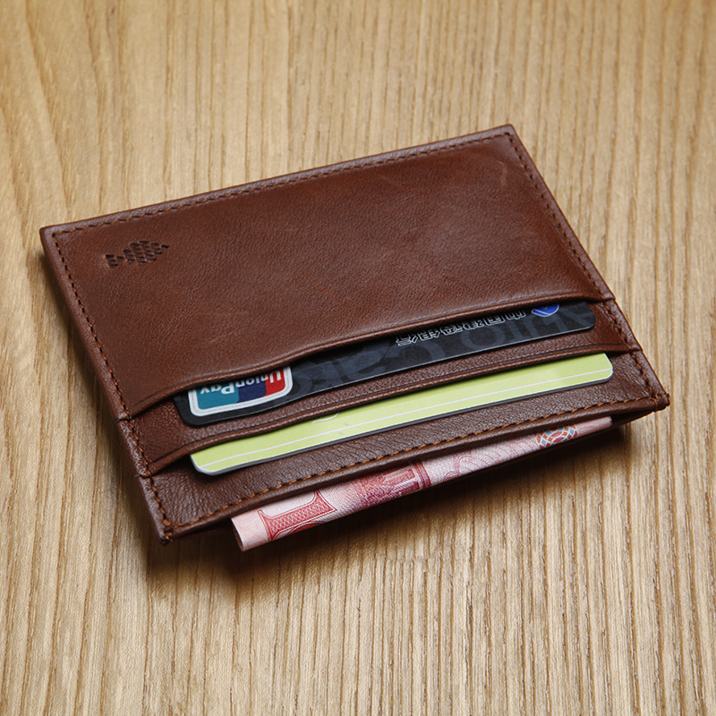 LAN 100% Cow leather men's leather slim card case casual bank card holder women's credit card case(China (Mainland))