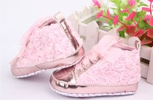 Baby kids Toddler  sapato infantil Rose flower soft sole girl shoes Baby First walker Shoes 3 colors For Free Shipping
