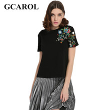 Buy GCAROL 2017 Women Embroidery Floral Tshirt Euro Style Vintage Floral Tees Stretch Casual Basic Tops Early Spring Summer for $9.98 in AliExpress store