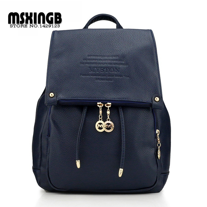 2015 Women Backpack Leather Black  College Style Pu Leather Backpack 5 Colors School Bags For Teenagers Girls Travel Hiking Bag<br><br>Aliexpress