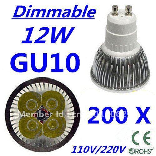 200pcs Dimmable LED High power GU10 4x3W 12W led Light led Lamp led Downlight led bulb spotlight FREE FEDEX and DHL