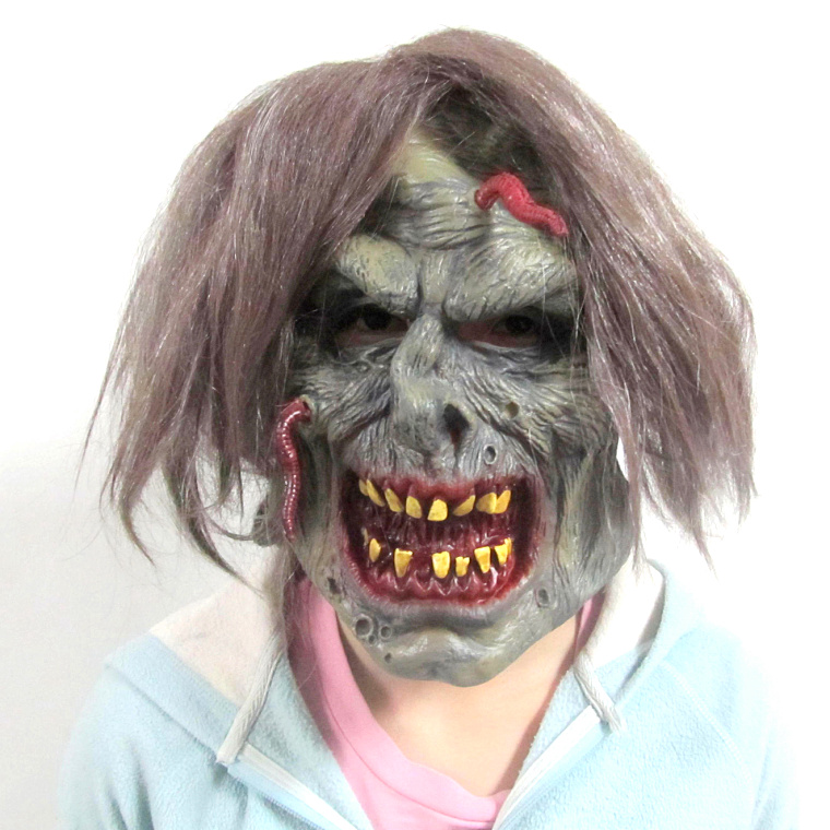 New Arrival Halloween Horror Mask Party Supplie Eco-friendly Latex Full Face Mask Ghost Soft Bleeding Scary Mask With Brown Hair(China (Mainland))