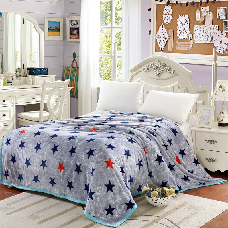 blue stars print gray brief style high end flannel coverlid summer blankets twin/single/queen/full/double throw blankets(China (Mainland))