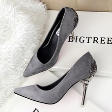 Spring Summer Women High Heels Shoes Pointed Toe Matel Heels Pumps Fashion Sexy Shoes Heeled Carved