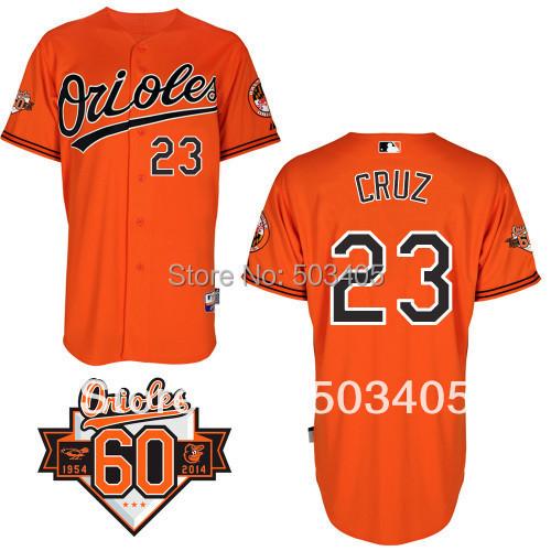 Baltimore Orioles #23 Nelson Cruz Orange Baseball Jersey Commemorative 60th Anniversary Patch jersey113(China (Mainland))