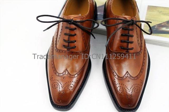 Free shipping custom handmade adhesive craft mens dress full-brogue color brown shoe No.OX110<br><br>Aliexpress