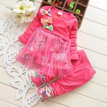 2015 New Autumn Baby Girl Clothing Heart shaped Print Bow Cute 2PCS Cloth Set Children Cloth