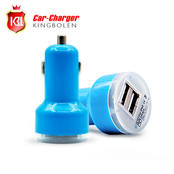 Wholesale Free Shipping Micro Auto Universal Dual USB Car Charger For iPad for iPhone 5V 2.1A Mini Adapter 9 Color for Choice