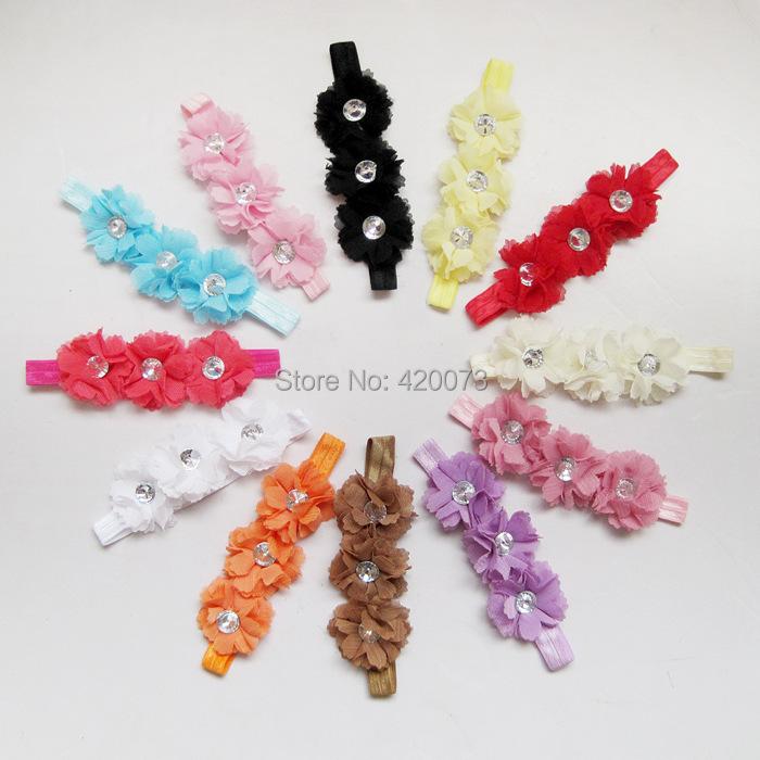 Free Shipping 12 Pcs/lot Baby Chiffon Flower Headband,Rhinestone Infant Headbands,Toddler Hair Accessories With Elastic(China (Mainland))