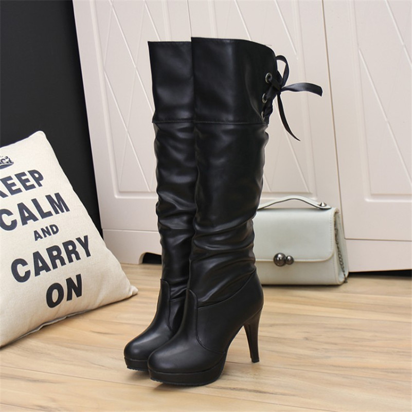 Fashion New Arrival Winter Mid-Calf Women Boots Black White High Heels Boots Autumn Winter Snow Boots(China (Mainland))