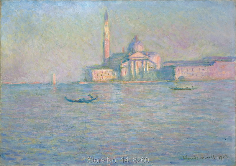 canvas painting prints poster art wall decoration: The Church of San Giorgio Maggiore, Venice by Claude Monet(China (Mainland))