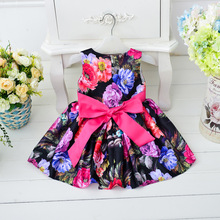 Summer New Cotton Print Floral Baby Girls Dress Kids Clothes Children Princess Party Dresses for Girls