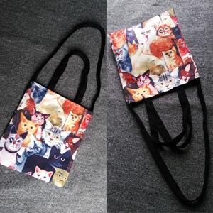 15 Cats Canvas Cotton Bag Female School Messenger Bag Eco-friendly Shopping bag Handbag Cartoon Satchel Shoulder Tote Women Bag(China (Mainland))
