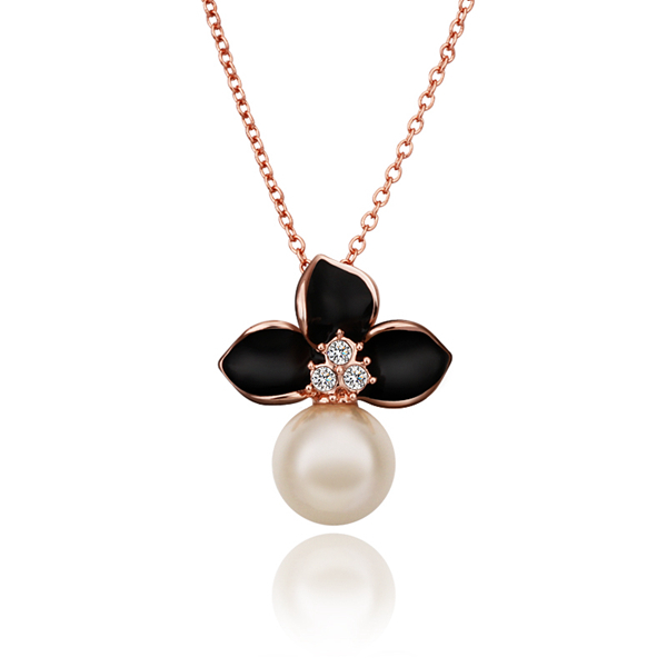 Min Order $10 2013 New 18K Rose Gold Plated Women Clover Pendant Necklace imitation Pearl Jewelry GJN-686 - Bottom Price(B & P store)