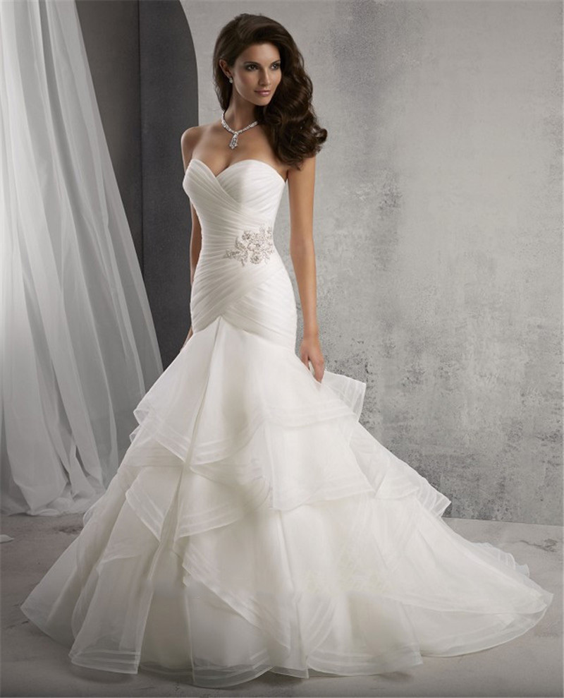 2015 mermaid wedding dress sweetheart sleeveless bridal for White or ivory wedding dress