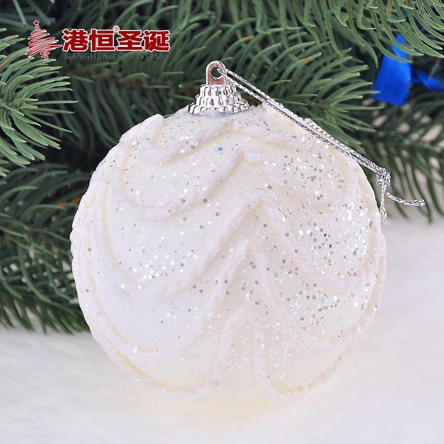 Christmas Tree Ornaments 8 cm white foam high quality Christmas balls 20 g (A pack of six balls) (GHB007-1)(China (Mainland))