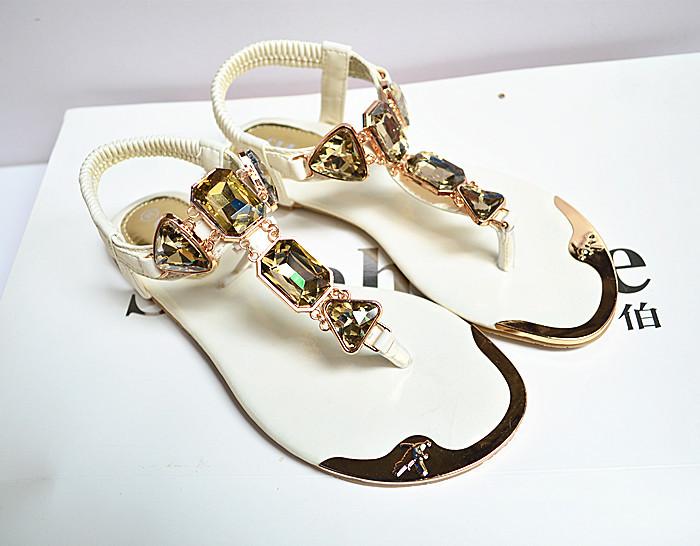 2014 new Korean fashion chain diamond clip toe flat sandals sparkling rhinestone crystal rhinestone shoes(China (Mainland))