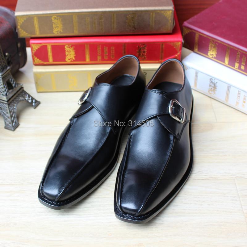 SKP88 Design Custom Handmade Fit Mens Black Goodyear Welt Genuine Leather Monk Strap Point Toe Flats Shoes Plus Size Accept OEM<br><br>Aliexpress