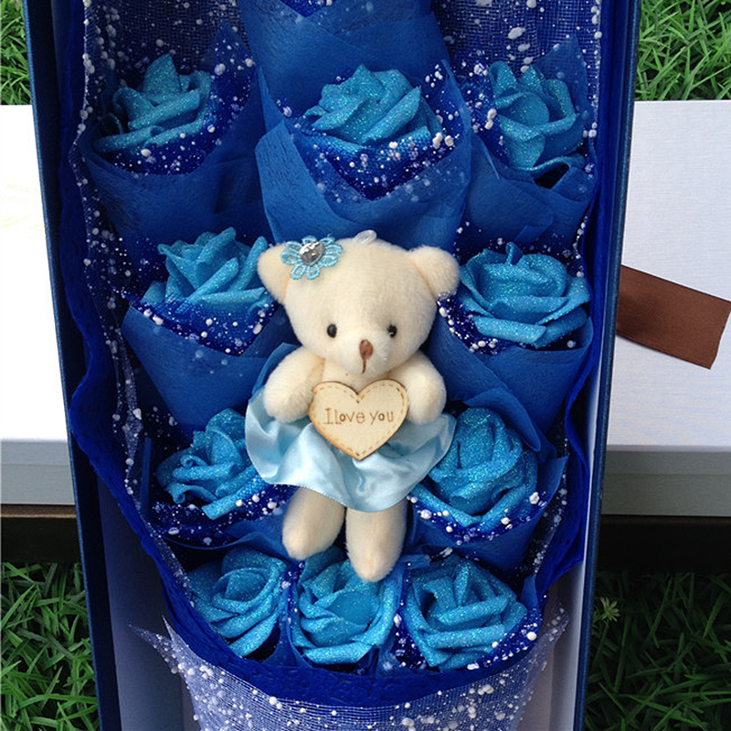 Romantic Artificial Flower Christmas Home Decor 11ps soap flower+1ps toy bears with box Romantic Bouquet for Valentine Birthday(China (Mainland))