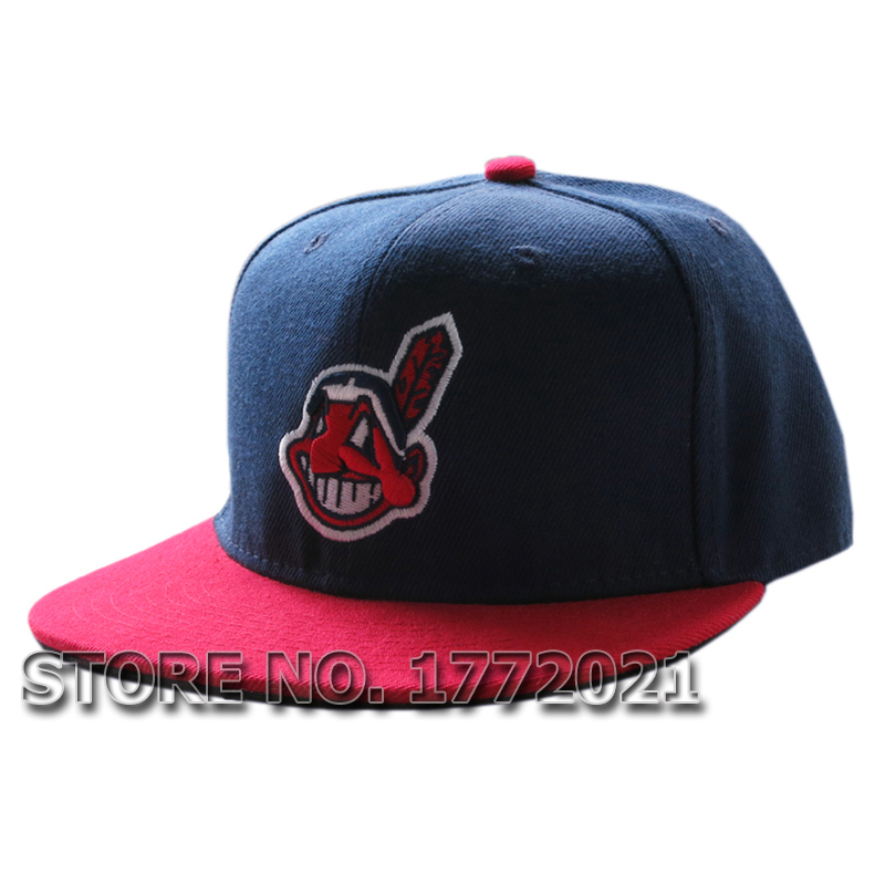Men's flat brim baseball sport team hats Cleveland Indians navy blue full closed fitted caps(China (Mainland))