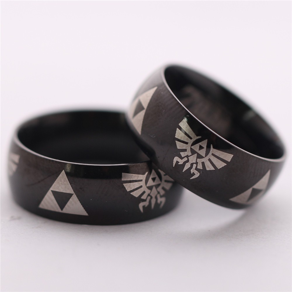 1pc Anime The Legend of Zelda the Triforce Zelda Logo Ring Triforce Black Met