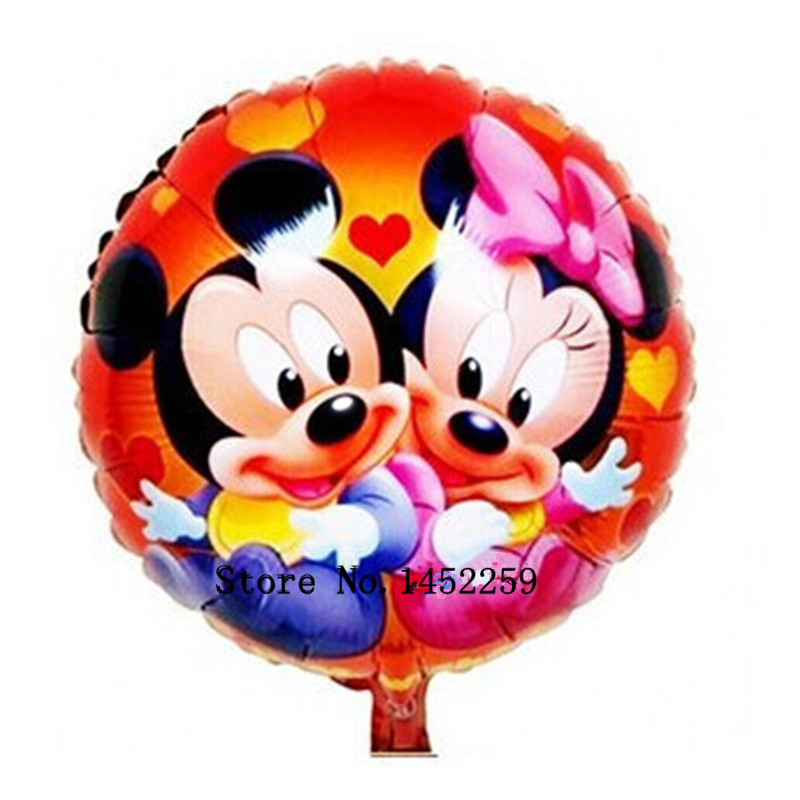 Free Shipping 5pcs-lots aluminum round balloon Mickey Minnie childrens birthday party decoration balloon wholesale<br><br>Aliexpress