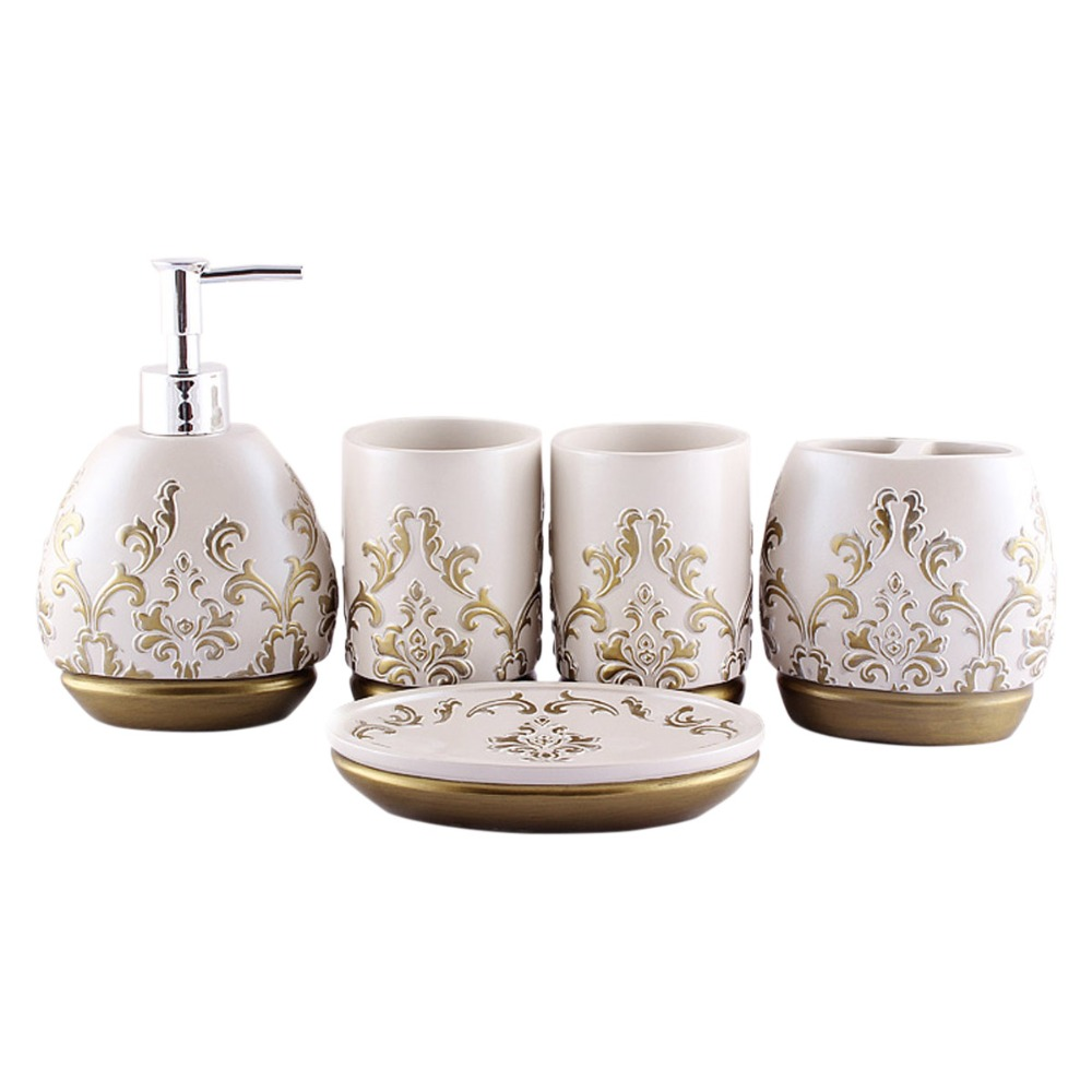 pcs luxury ultimate morocco resin bathroom accessories set dispenser